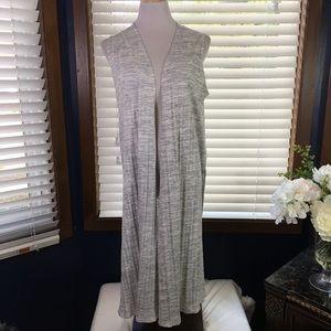 LulaRoe Gray Woven Joy Duster Size Medium